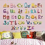 DFKDGL Kinderzimmer Schlafzimmer Baby Höhe Aufkleber Wandaufkleber Kindergarten Puzzle Frühes Lernen Lernen Englisch Alphabet Wandbilder Puzzle