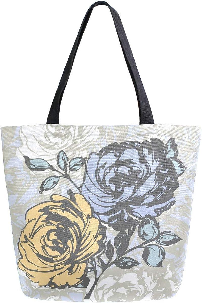 MNSRUU Women's Printed Canvas Tote Bag Shoulder Bag Hobo Handbag Casual Womens Purses Floral