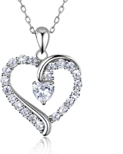 """925 Sterling Silver heart necklace - Billie Bijoux """"You Are the Only One"""" Love Platinum Plated Diamond pendant 18"""