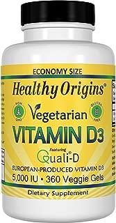 Healthy Origins Vegetarian Vitamin D3 5,000 IU (from Quali-D European Vitamin D3), 360 Veggie Gels