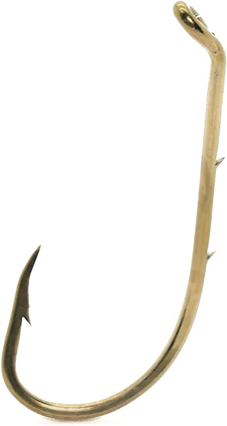 100 MUSTAD #8 BAITHOLDER WORM BEAK HOOKS PANFISH 2 SLICES NICKELPLATED 92133 A