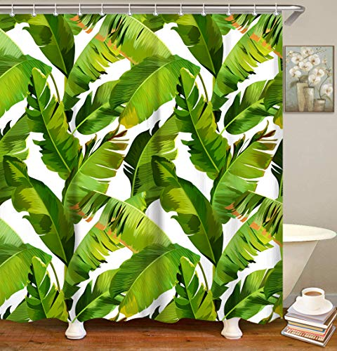 LIVILAN Tropical Shower Curtain, Green Shower Curtain, Plant Shower Curtain, Leaf Shower Curtain, Botanical Shower Curtain Set with 12 Hooks, Jungle Bathroom Decor, 72X72 inches.
