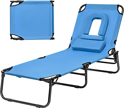 discount Giantex Outdoor Chaise Lounge Chair Recliner with lowest wholesale 5 Adjustable Positions, Hole, Detachable Pillow and Hand Ropes, Folding Beach Chair for Sunbathing, Poolside and Yard Patio Lawn Chair (1, Navy) sale