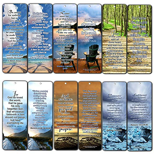 Most Highlighted Bible Verses Bookmarks Cards Bulk Set - KJV Version 60-Pack- Religious Christian Inspirational Gifts to Encourage Men Women Boys Girls - Bible Study Sunday School War Room Decor