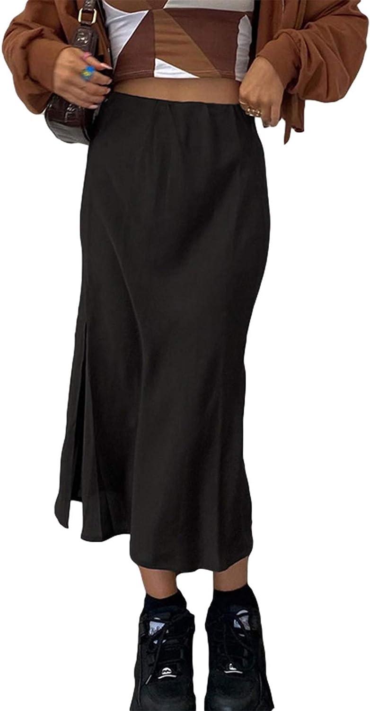 Women High Waist Satin Midi Skirts Vintage Casual Y2K Harajuku Slit Dress Summer A-line Maxi Skirt
