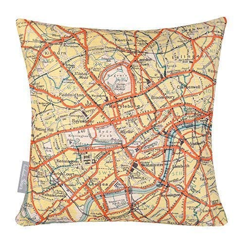 Izabela Peters Linen Cushion - Vintage Map Of Central London By The Thames Designed, Printed & Handamde in the UK