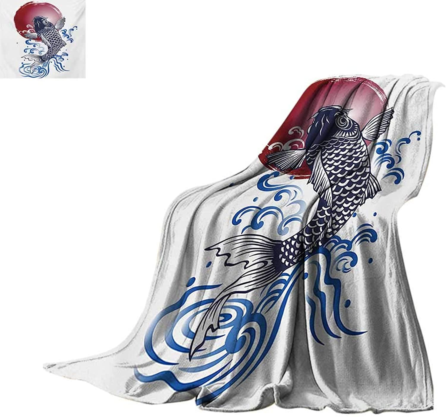 JapaneseOffice Throwing blanketOrnate Japanese Brocaded Carp Fin with Red Circular Form Eastern Sea colord GraphicOffice Warm Blanket 62 x60  bluee
