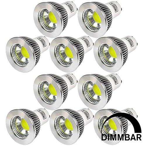 MENGS 10 Stück Dimmbar GU10 COB LED Rampenlicht Lampe 5W Kaltweiß 6500K AC 220-240V Mit Aluminium Mantel