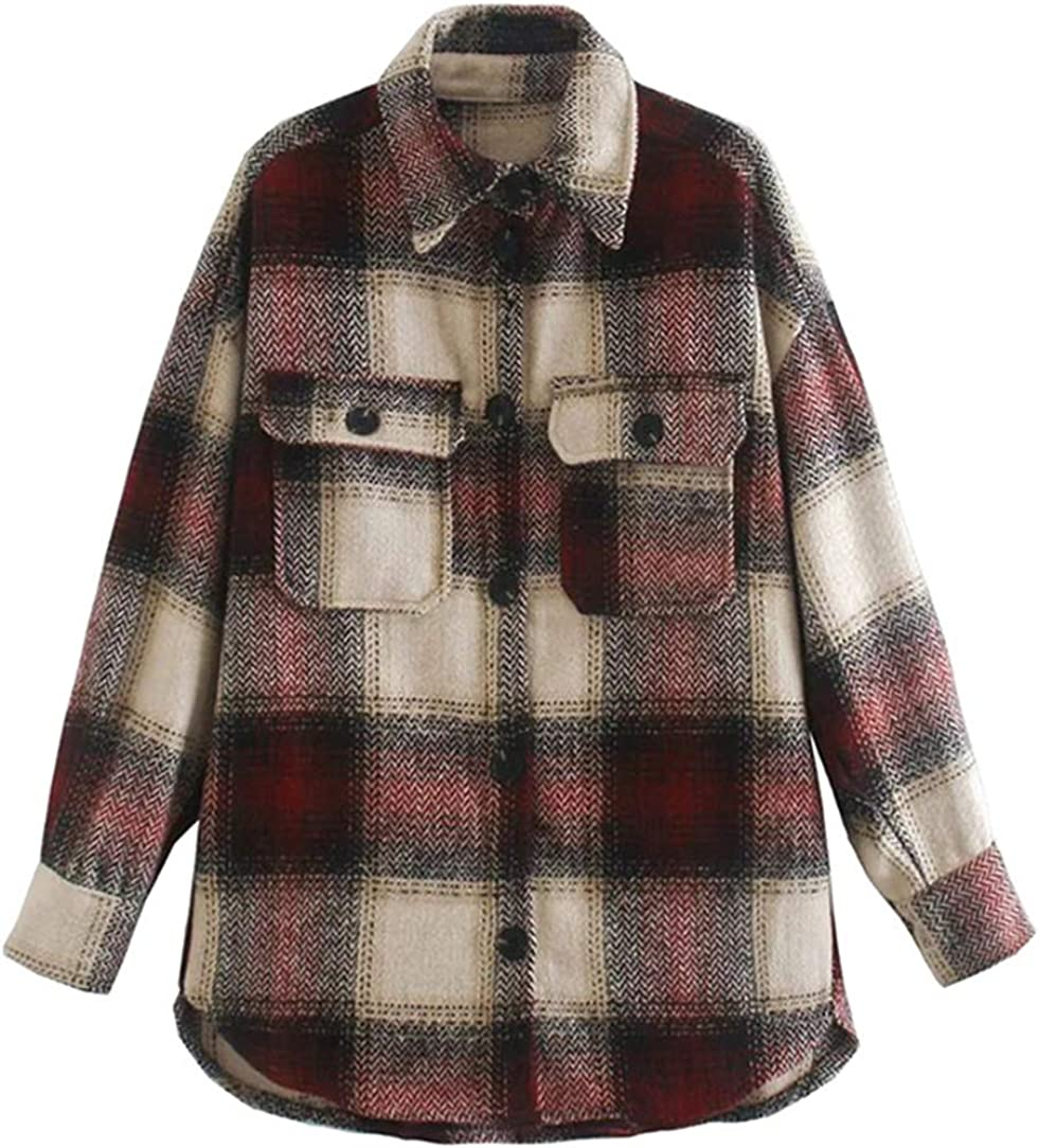 chouyatou Women's Loose Single Virginia Beach Some reservation Mall Shacket Button-Dow Plaid Breasted