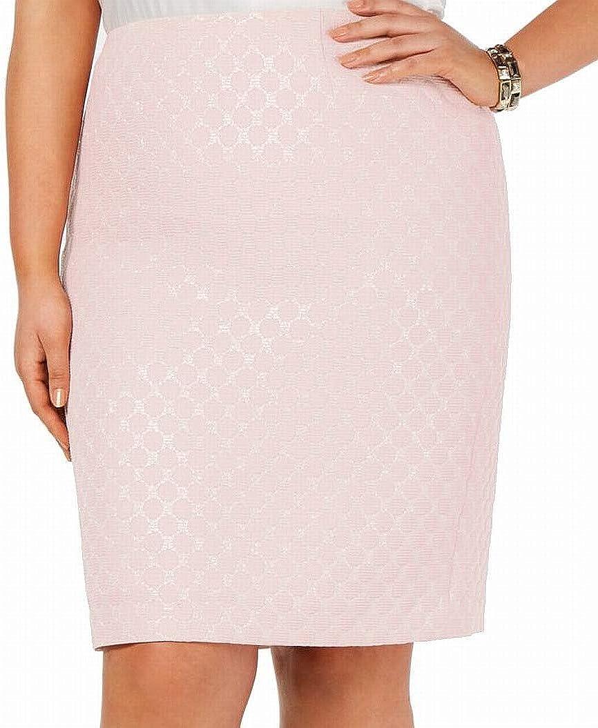 Kasper Plus Size Metallic-Print Back-Slit Skirt