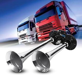 12 V 150 dB Doppelhupe für Auto, Motorrad, Chrom, Zink, Doppelhub Set mit einem Kompressor für Auto, LKW, Boot und die meisten Arten von Autos, Silber