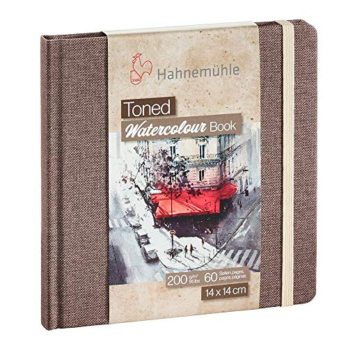 Hahnemühle Toned Watercolor Book - Square 5.5x5.5 Inch Tan Tinted Tinted Watercolor Sketchbook for Painting Drawing Sketching and Mixed Media - Professional 200 GSM Tan Toned Watercolor Paper Book