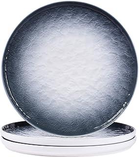 Eglaf 10'' Ceramic Round Dinner Plates - Gradient Water Wave Embossed Texture Porcelain Dish - for Steak, Pasta, Waffles, ...