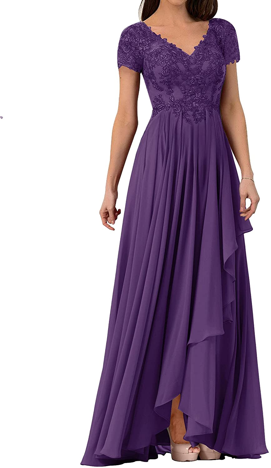 Mother of The Bride Dress Lace Formal Evening Gowns Chiffon Wedding Party Dress Short Sleeves