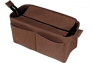 [Fits IENA MM, Dark Brown] Felt Organizer (with Top Zipper), Bag in Bag, Wool Purse Insert, Customized Tote Organize, Cosmetic Makeup Diaper Handbag