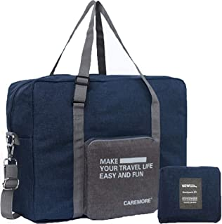 Spirit Airline Personal Item Carry-on Bag Unisex's Lightweight Foldable Duffel Travel Luggage Bag 18 X 14 X 8 inches(Blue with strap)