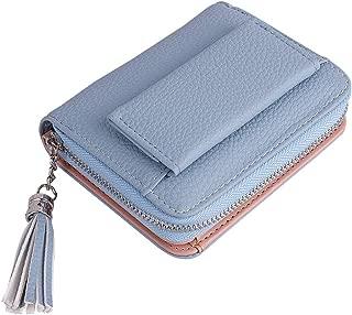 Women Small Wallet, Lady's Mini Wallet RFID Blocking Bifold Leather Multi-purpose Wallet with ID Window (blue)