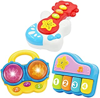 Baby Music Set of 3 Piano Guitar Bongo Drum. Music Learning Education for Ages 9 Months to 4 Years. Small Portable Size fo...