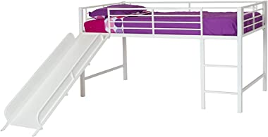 DHP 5513098 Junior Twin Metal Loft Bed with Slide, Multifunctional Design, White with White Slide