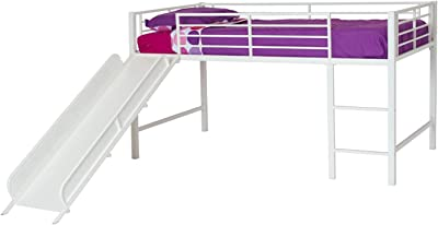DHP Junior Twin Metal Loft Bed with Slide, Multifunctional Design, White with White Slide & Fire Department Design Curtain Set for Junior Loft Bed, Kids Furniture, Blue