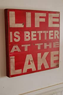 Blanche989 Life is Better at The Lake Distressed Rustic Subway Style Wood Sign Several Colors for Your Lake House Cabin Camper