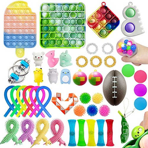 46 Pack Sensory Fidget Toys Pack Fidget Sets Push pop pop Bubble Toys Mini Keychain Pop Toys Sets...