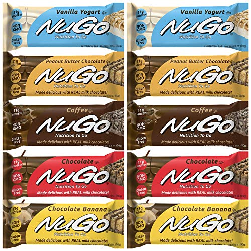 NuGo Nutrition protein Bar, Gluten Free Low Fat, Plant-based Protein, Variety 5 Flavors, Peanut Butter Chocolate, Coffee, Chocolate, Chocolate Banana, Vanilla Yogurt, 1.76-Ounce Bars, 10 Pack