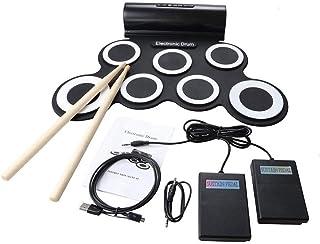 ポータブルプロフェッショ折りたたみ電子ドラム シリコン電子ドラムキットサポートDTXゲームロールアップ練習MIDIドラムセット(7パッド付き) ヘッドフォンジャック内蔵スピーカーサスティンペダルドラムスティック録音再生機能ギフト子供のための ドラムサウンドはあなたに自然で強力なサウンドを与えます。 標準的なドラム設定とワイドペダル (色 : ブラック, サイズ : Free size)
