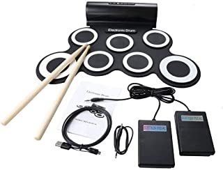 Roll Up Drum Kit Soporte DTX Juego 7 Silicon Pads Práctica MIDI Batería electrónica con conector para auriculares Altavoz incorporado Pedales de sostenimiento Baquetas de batería Grabación Funciones d