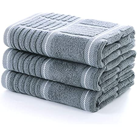 Heavy Duty Absorbent Dish Clothes Set of 4 Fecido Classic Dark Kitchen Dish Towels with Hanging Loop European Made 100/% Cotton Tea Towels Dark Green
