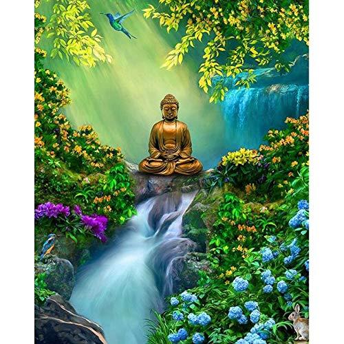 Cuadro de Diamantes 5D religión Buda Retrato de Diamantes de imitación Cuadrado Completo Bordado de Diamantes decoración de Punto de Cruz Regalos creativos para el hogar Sqaure 40x50cm