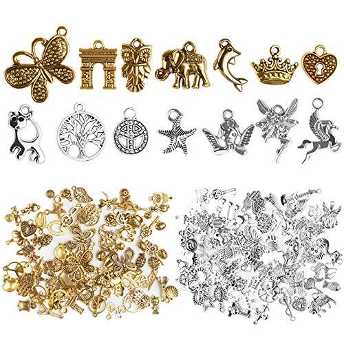 Chudian 200pcs Abalorios de Plata Dijes Colgantes de Aleación DIY Colgante de Joyería Dijes para Joyería de Bricolaje Llaveros Pulseras Collares Pendientes (color oro y plata)