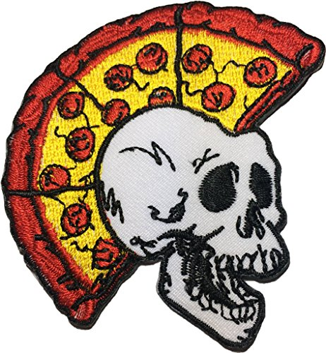Pizza Skull(punk) size 7x8 cm. biker heavy metal Horror Goth Punk Emo Rock DIY Logo Jacket Vest shirt hat blanket backpack T shirt Patches Embroidered Appliques Symbol Badge Cloth Sign Costume Gift