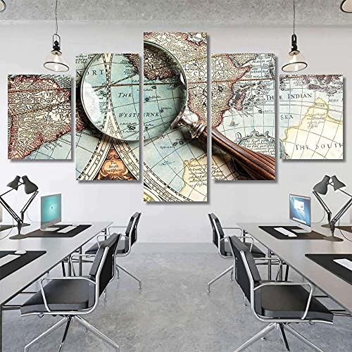 GSDFSD Art Prints - Magnifying Glass And Ancient Old Map - Wall Pictures Living Room Decor 5cs/set - Contemporary Pictures Paintings - Modern Landscape Artwork - Frameless