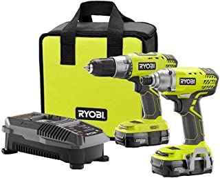 Ryobi P1832 18V One+ Handheld Drill/Driver and Impact Driver Kit (6 Piece Bundle, 1x P277..
