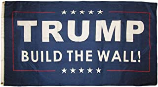 MWS 3x5 Trump Build The Wall ! Blue Republican Premium 150D Woven Poly Nylon 3'x5' Premium Quality Polyester Flag Grommets Double Stitched Indoor Outdoor