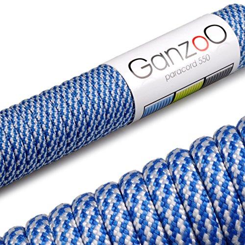 Ganzoo Paracord 550 touw voor armband, linnen, halsband, nylon touw 30 meter, blauw wit
