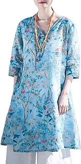 LZJN - Camicetta da donna con stampa floreale, stile vintage, con maniche lunghe, con tasche