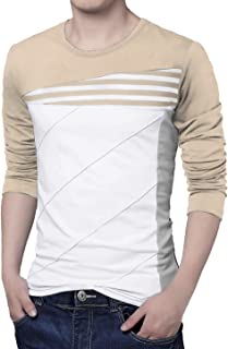uxcell Men's Color Block Striped Panel Round Neck Long Sleeve Pullover T-Shirt