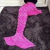 Manta de la cola de la sirena, Handcraft tejido de punto Cobija para adultos Bolsa de Dormir Toda la temporada(Rosa roja)