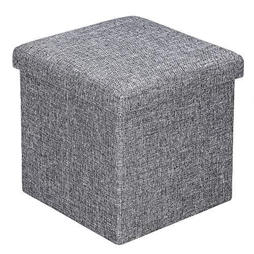 Deuba Sitzhocker mit Stauraum Deckel Gepolstert Faltbar 40L Stoff 38x38x38 cm Fußhocker Sitzbox Sitztruhe Hocker Grau