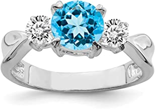 925 Sterling Silver Blue Topaz Band Ring Stone Gemstone Fine Jewelry Gifts For Women For Her