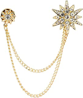 Knighthood Men's Golden Swarovski Star And Sunshine With Hanging Chain Brooch Golden