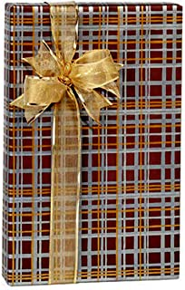 Silver Gold Chocolate Brown Plaid Metallic Gift Wrap Wrapping Paper 24 Inches x 15 Foot Roll