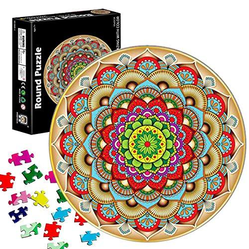 Puzzle Redondo 1000 Piezas,Rompecabezas Redondo,Puzzle Creativo,Puzzle Arcoiris,Puzzle Adultos (Flor de la Suerte)