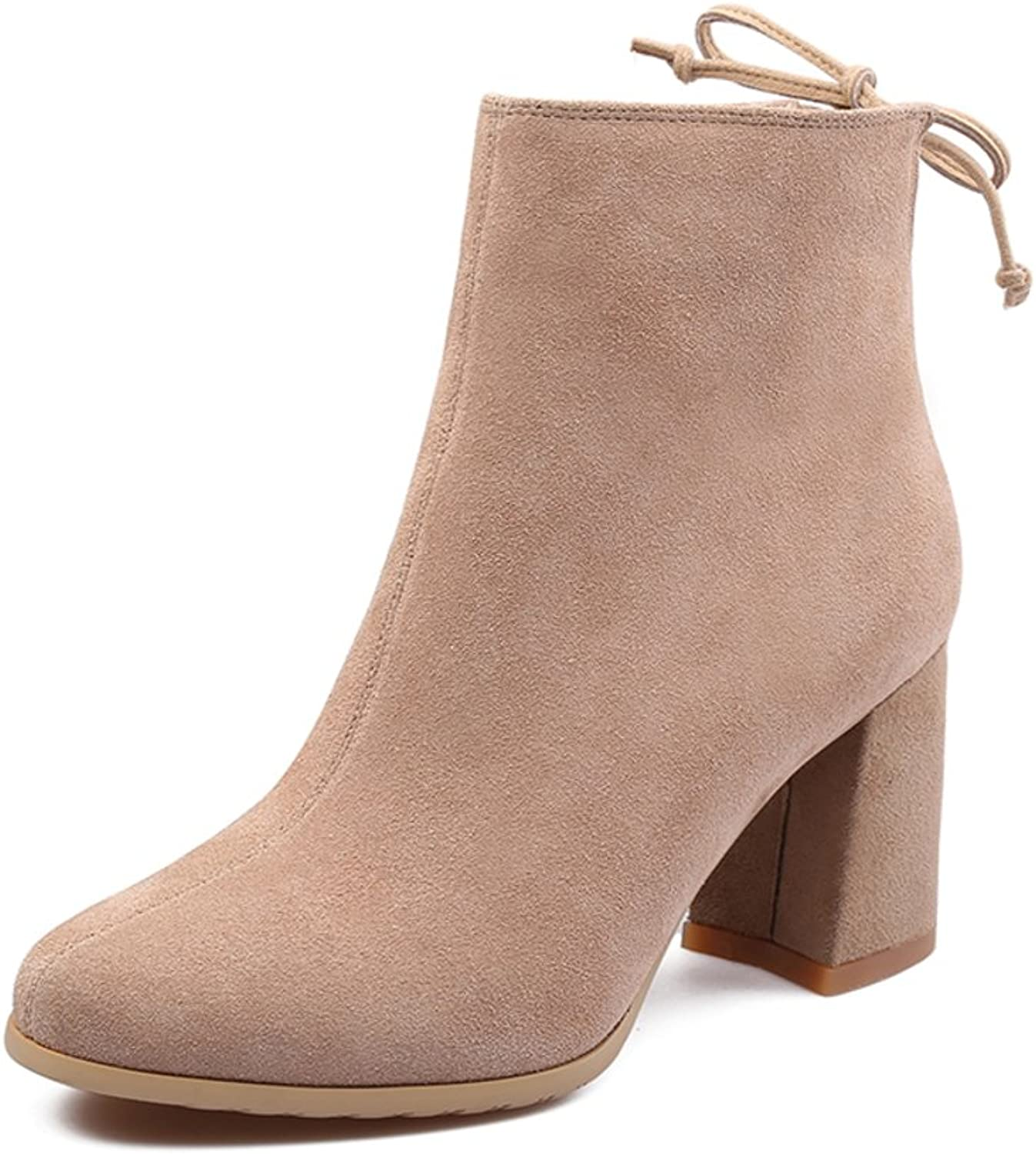 Huhuj cow suede boots pointed fashion Thick with high-heeled leather boots tide