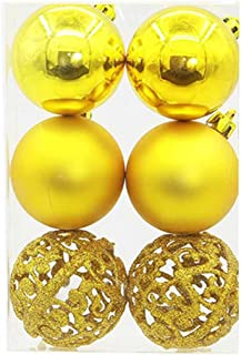 Creazy 6 pcs Christmas Xmas Tree Ball Bauble Hanging Home Party Ornament Decor (Yellow)