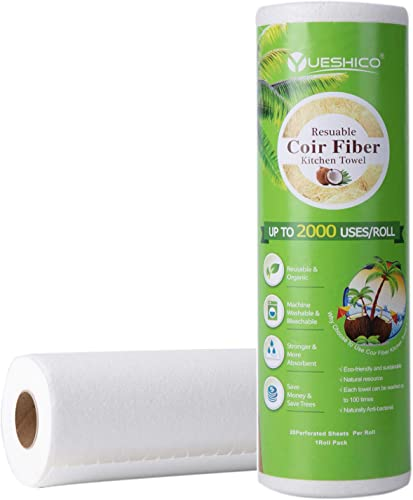 2021 YUESHICO Reusable Paper online Towels - Sustainable Coir Fiber Unpaper Towels - Organic Super Strong Durable and Absorbent Washable Kitchen Paper wholesale Towels - Eco Friendly, Biodegradable - 1 Rolls, 20 Sheets outlet sale