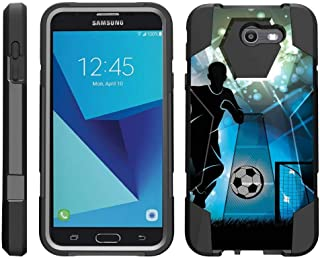 TurtleArmor   Compatible with Samsung Galaxy J7 2017 Case   J7 Prime   J7 Sky Pro [Dynamic Shell] Dual Hybrid Hard Impact Silicone Cover Kickstand Sports and Games - Soccer Player Graphic