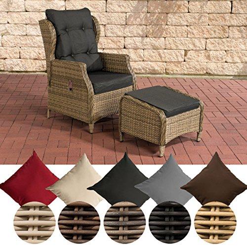 CLP Polyrattan-Sessel Breno Mit Sitzpolster Und Fußhocker I Relaxsessel Mit Verstellbarer Rückenlehne, Farbe:Natura, Polsterfarbe:Anthrazit